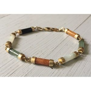 Vintage Sterling Jade Bracelet